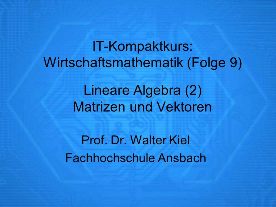 Prof. Dr. Walter Kiel Fachhochschule Ansbach