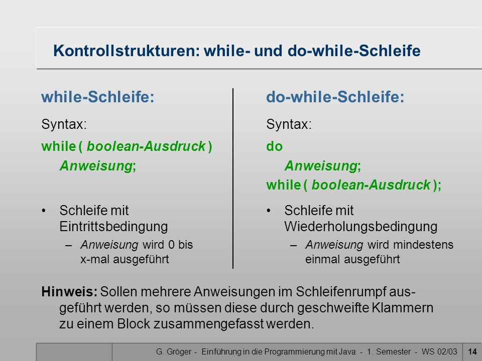 Kontrollstrukturen: while- und do-while-Schleife