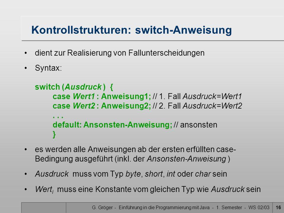 Kontrollstrukturen: switch-Anweisung