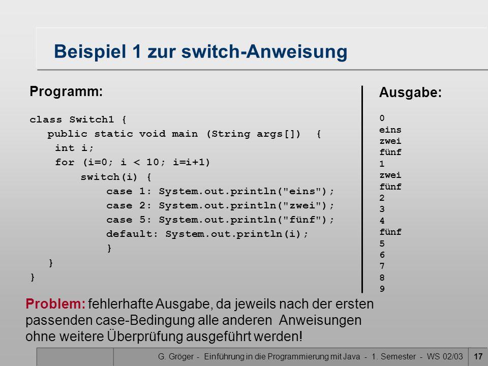 Beispiel 1 zur switch-Anweisung
