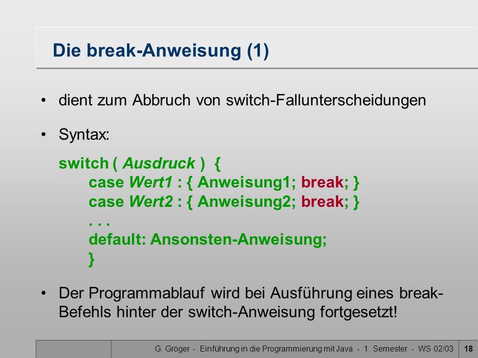 Die break-Anweisung (1)