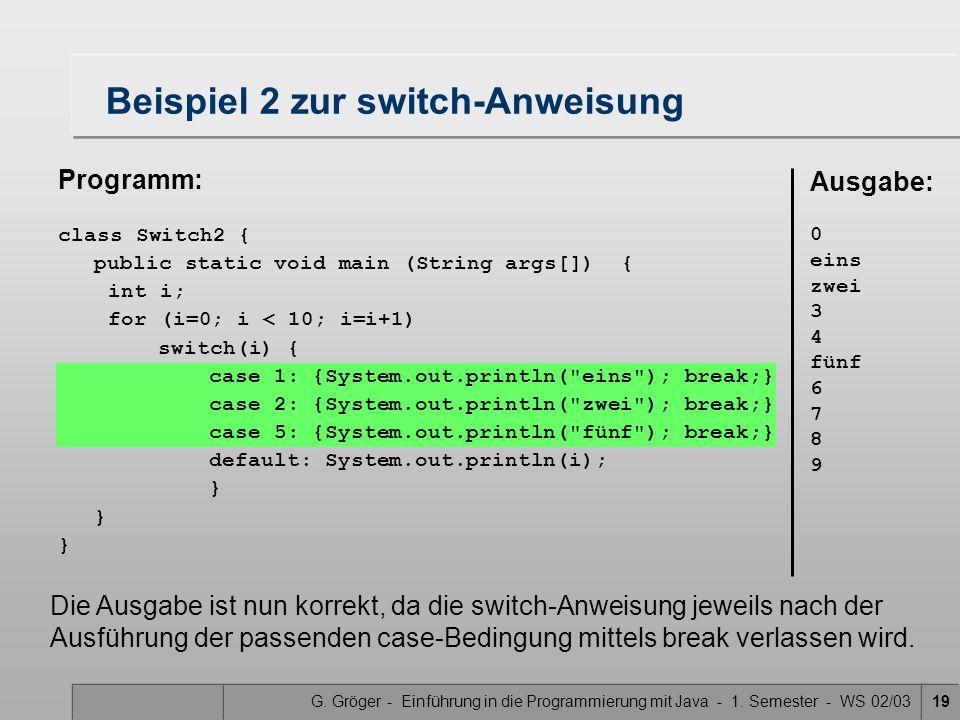 Beispiel 2 zur switch-Anweisung