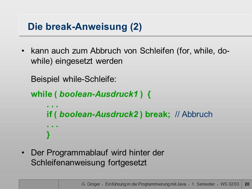 Die break-Anweisung (2)