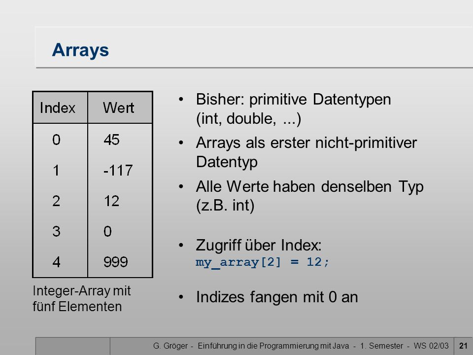 Arrays Bisher: primitive Datentypen (int, double, ...)