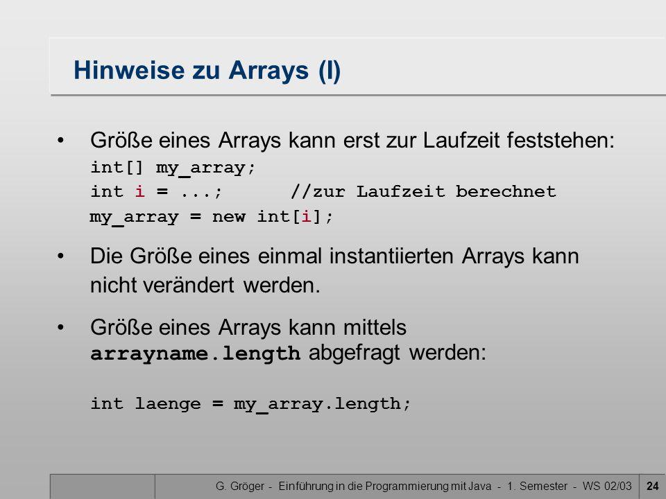 Hinweise zu Arrays (I)
