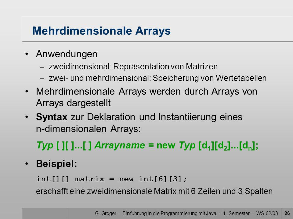 Mehrdimensionale Arrays