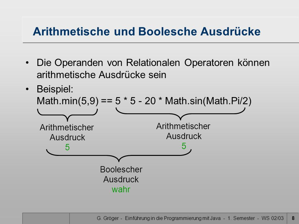 Arithmetische und Boolesche Ausdrücke