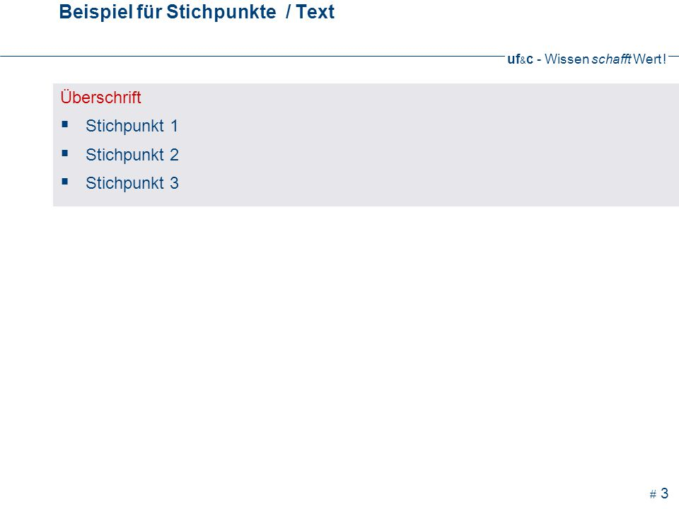 Beispiel für Stichpunkte / Text