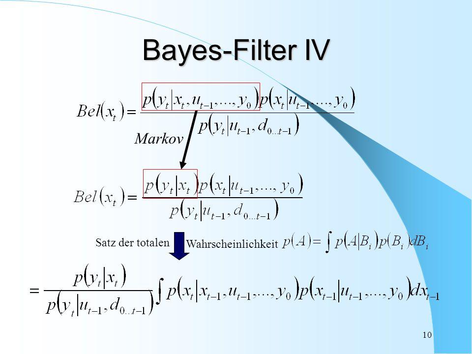Bayes-Filter IV Markov Wahrscheinlichkeit Satz der totalen
