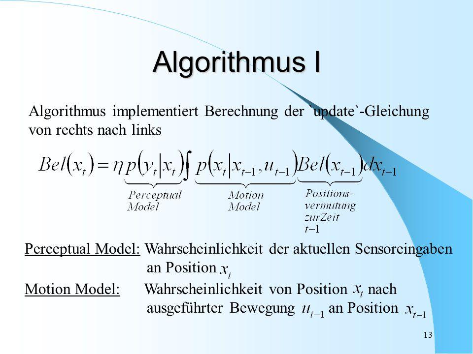 Algorithmus I Algorithmus implementiert Berechnung der `update`-Gleichung. von rechts nach links.