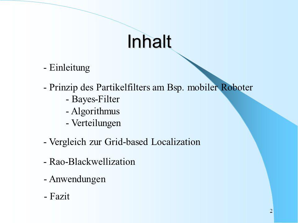 Inhalt - Einleitung. - Prinzip des Partikelfilters am Bsp. mobiler Roboter. - Bayes-Filter. - Algorithmus.
