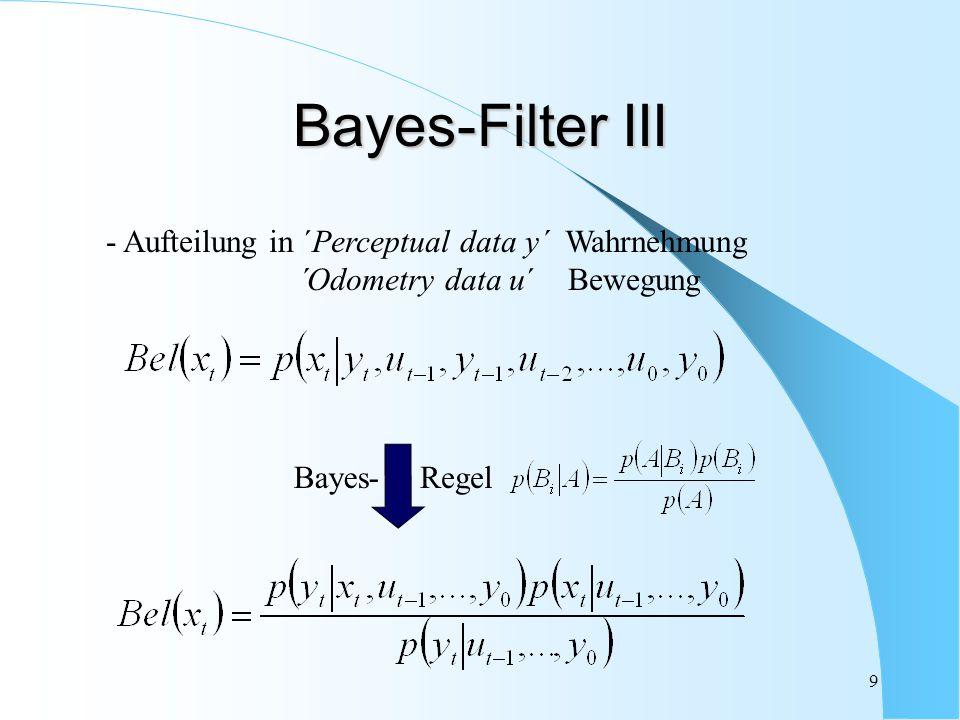 Bayes-Filter III - Aufteilung in ´Perceptual data y´ Wahrnehmung