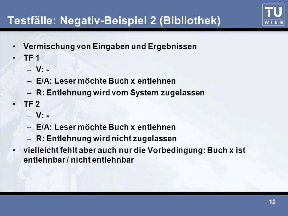 Testfälle: Negativ-Beispiel 2 (Bibliothek)