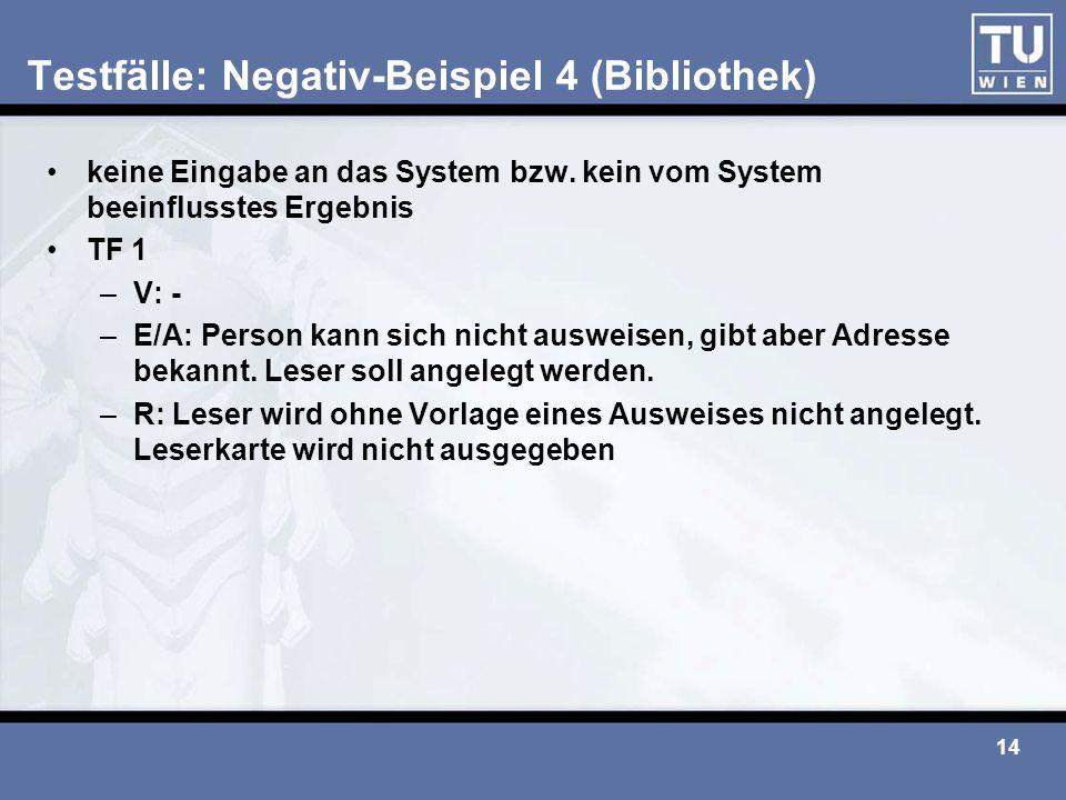 Testfälle: Negativ-Beispiel 4 (Bibliothek)