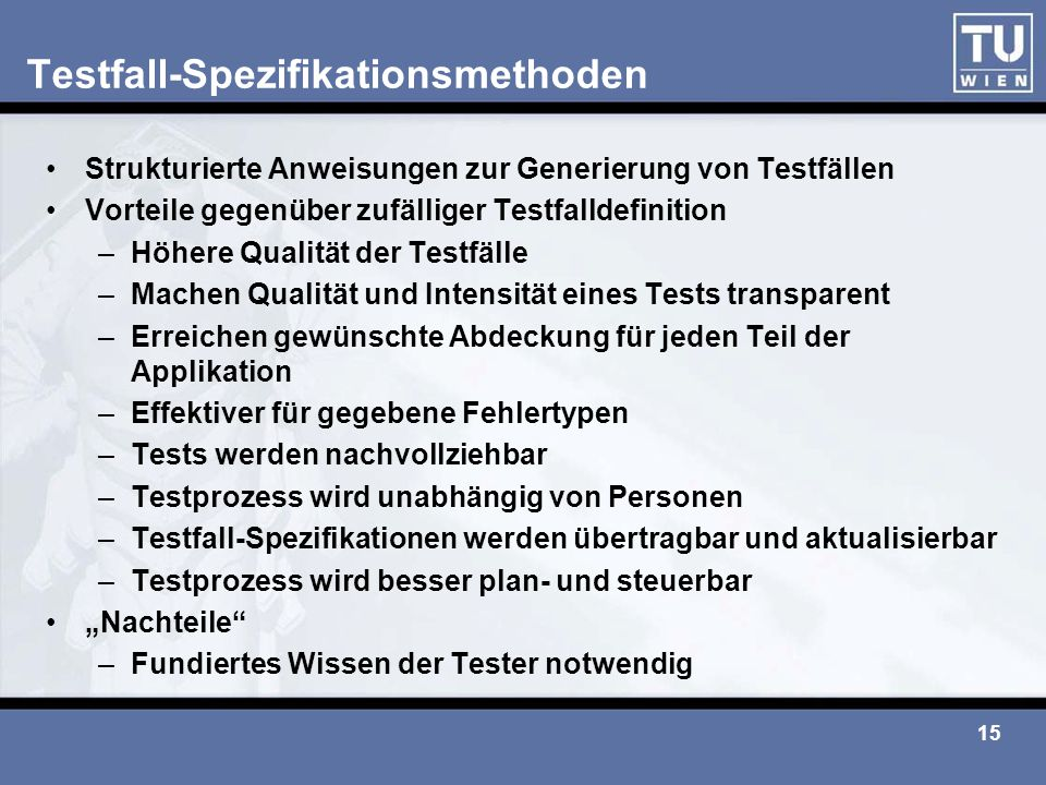 Testfall-Spezifikationsmethoden