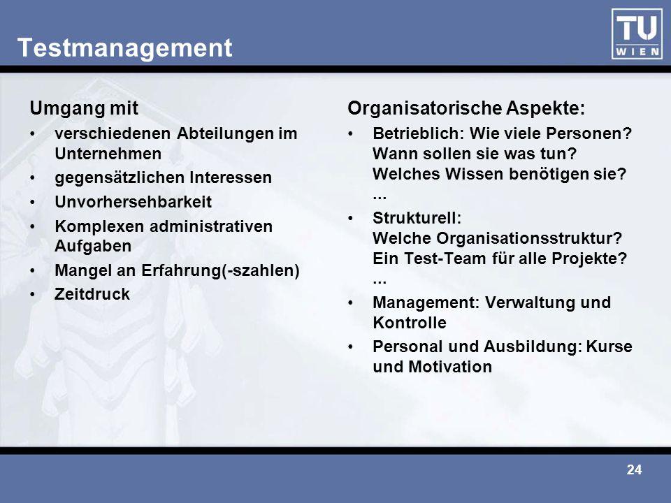 Testmanagement Umgang mit Organisatorische Aspekte: