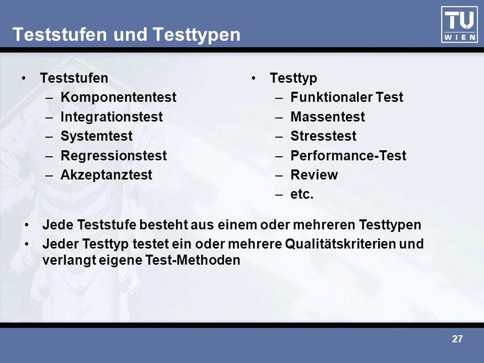 Teststufen und Testtypen