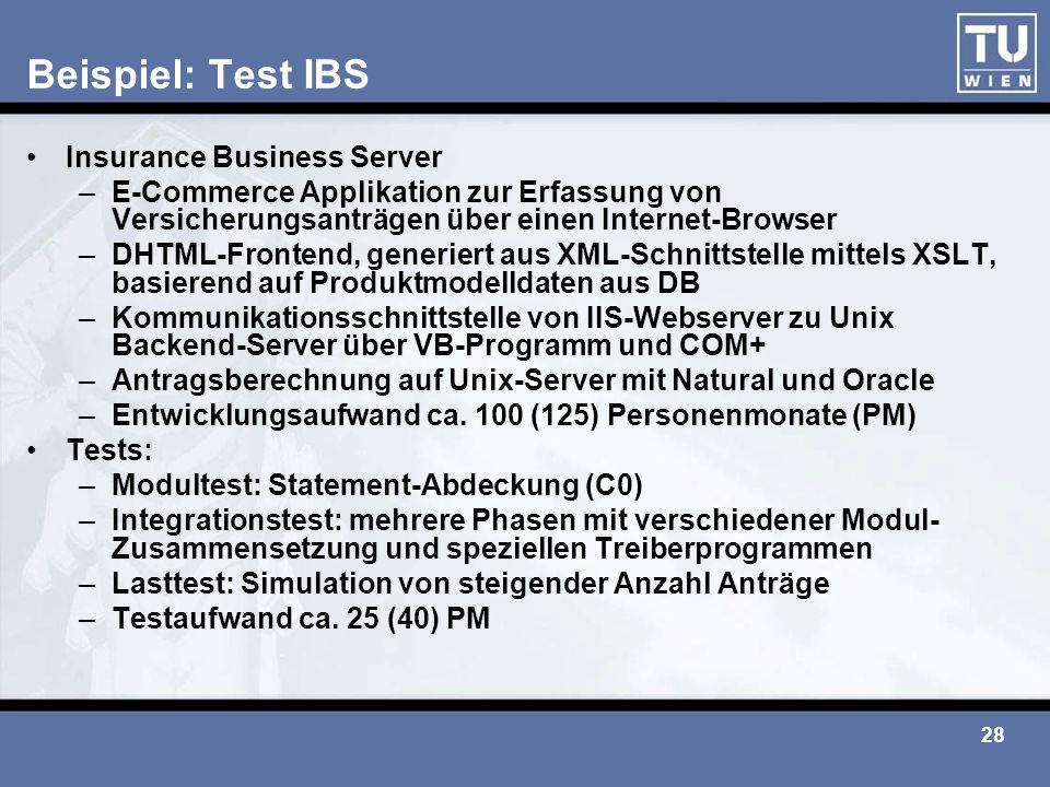 Beispiel: Test IBS Insurance Business Server