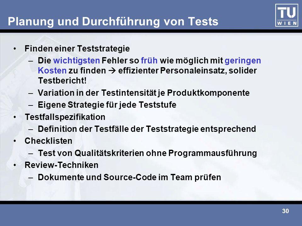 Planung und Durchführung von Tests