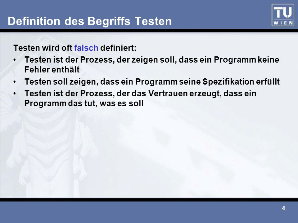 Definition des Begriffs Testen