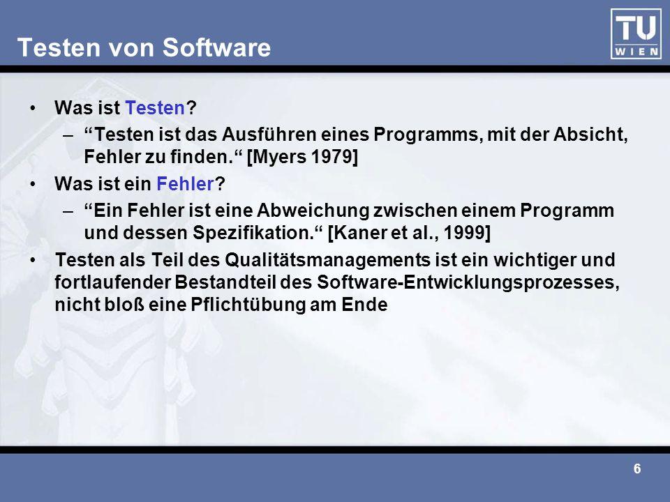 Testen von Software Was ist Testen