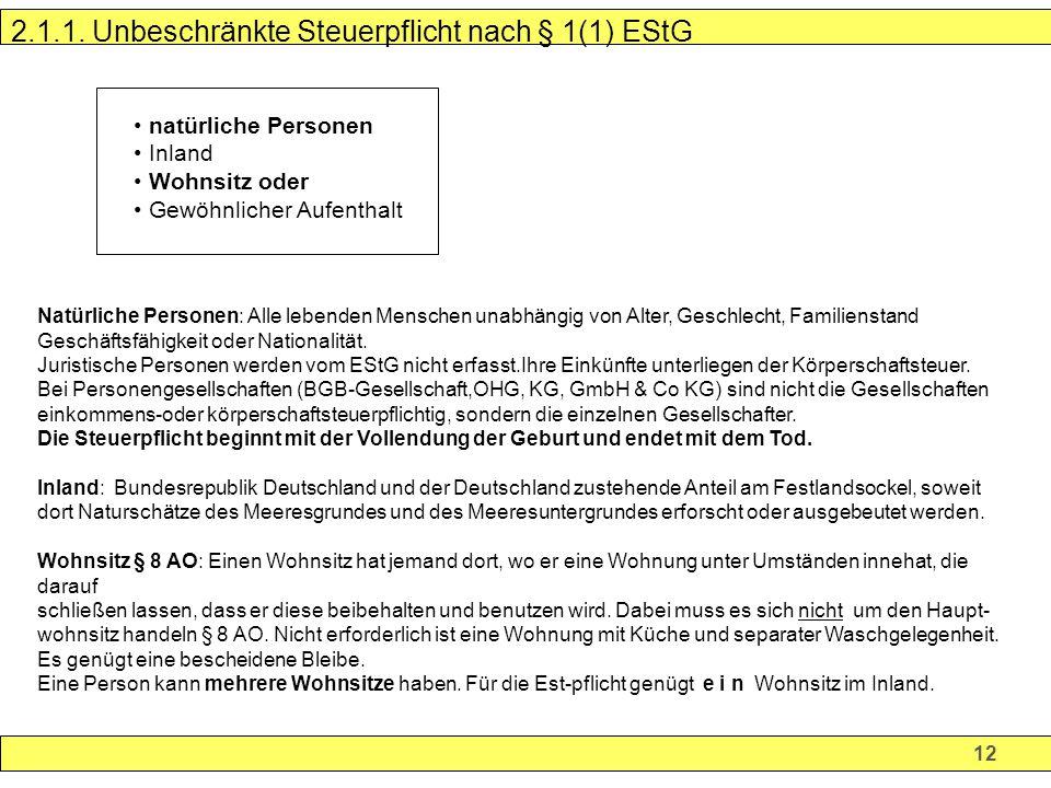 2.1.1. Unbeschränkte Steuerpflicht nach § 1(1) EStG
