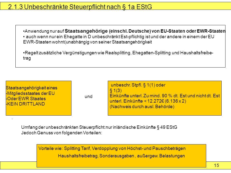 2.1.3 Unbeschränkte Steuerpflicht nach § 1a EStG