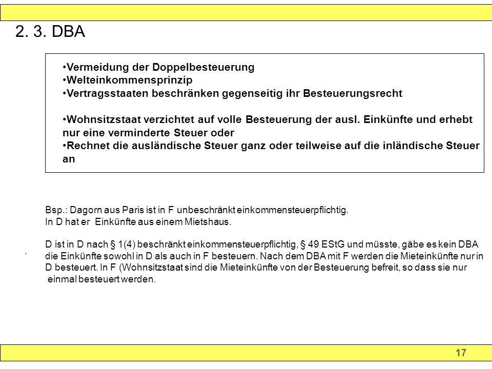 2. 3. DBA Vermeidung der Doppelbesteuerung Welteinkommensprinzip
