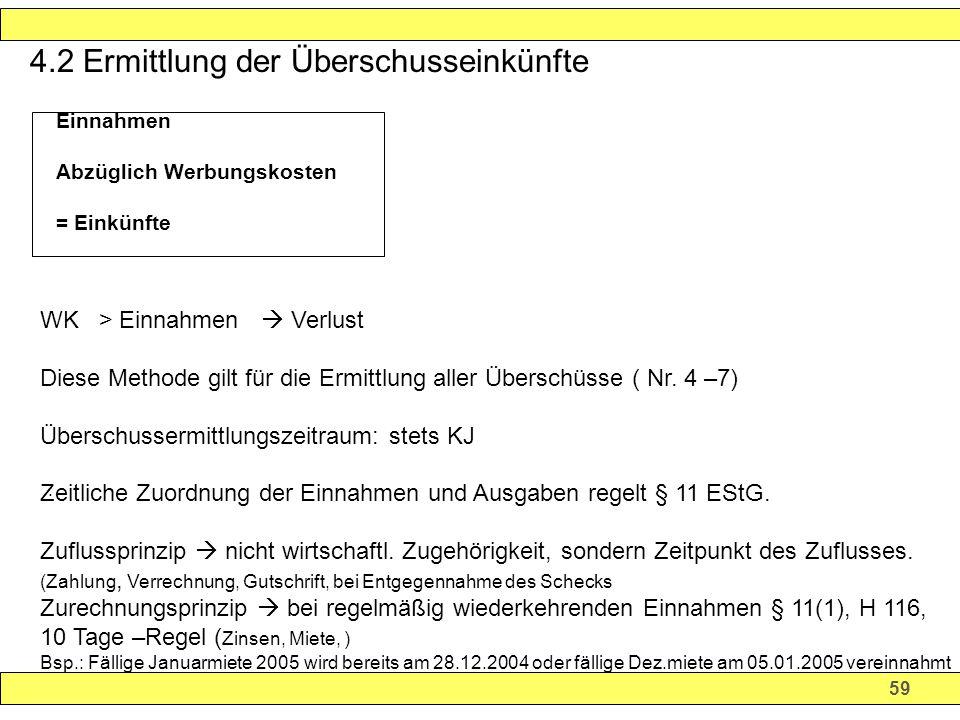 4.2 Ermittlung der Überschusseinkünfte