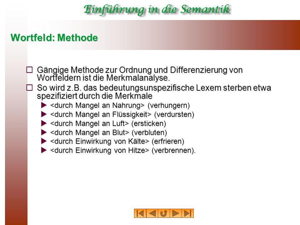 Wortfeld: Methode Gängige Methode zur Ordnung und Differenzierung von Wortfeldern ist die Merkmalanalyse.