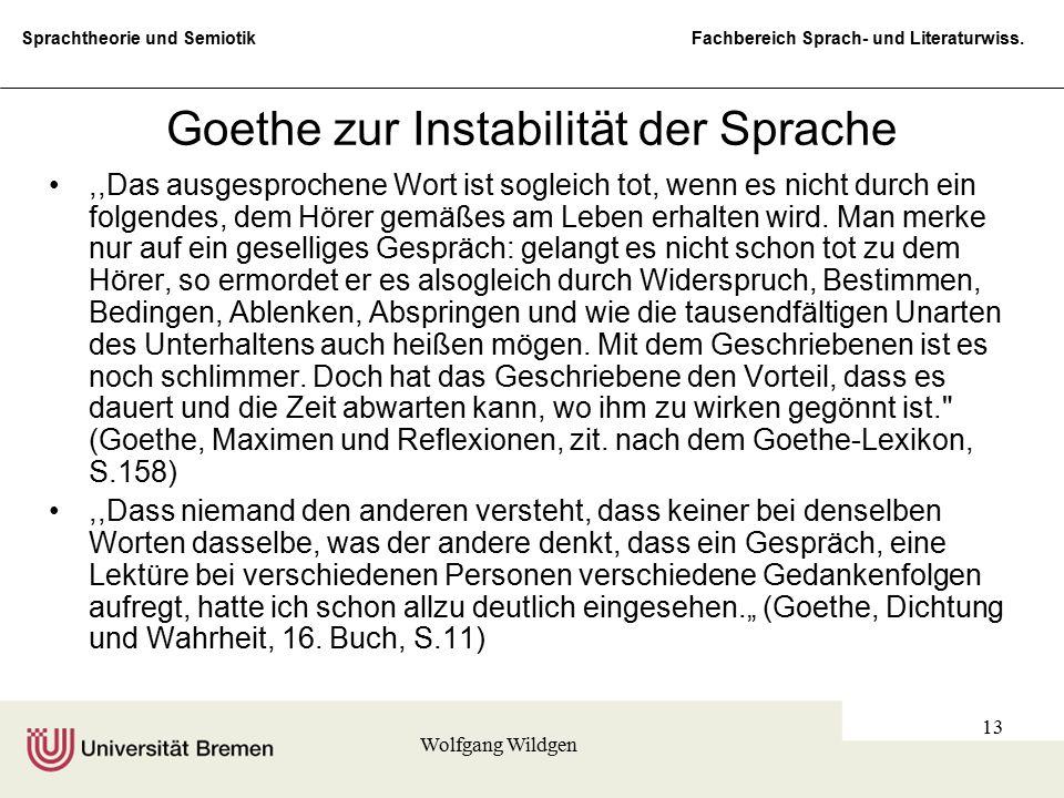 Goethe zur Instabilität der Sprache