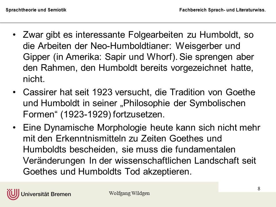 Zwar gibt es interessante Folgearbeiten zu Humboldt, so die Arbeiten der Neo-Humboldtianer: Weisgerber und Gipper (in Amerika: Sapir und Whorf). Sie sprengen aber den Rahmen, den Humboldt bereits vorgezeichnet hatte, nicht.