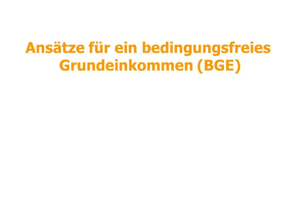 Ansätze für ein bedingungsfreies Grundeinkommen (BGE)