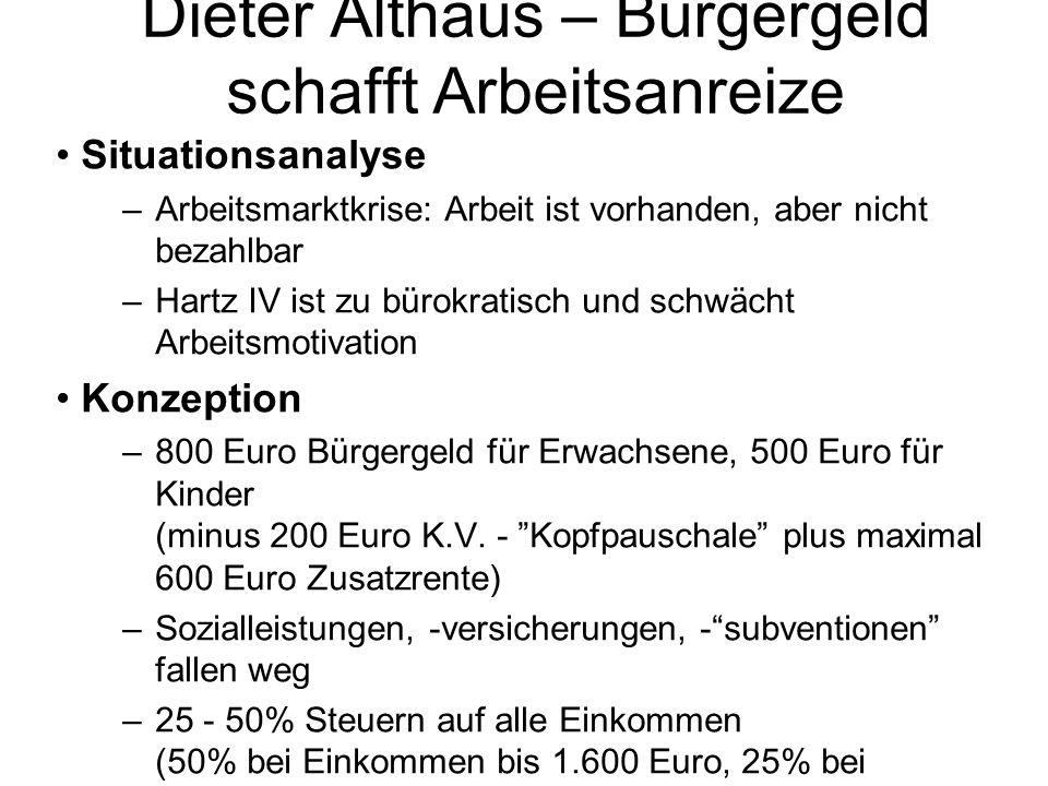 Dieter Althaus – Bürgergeld schafft Arbeitsanreize