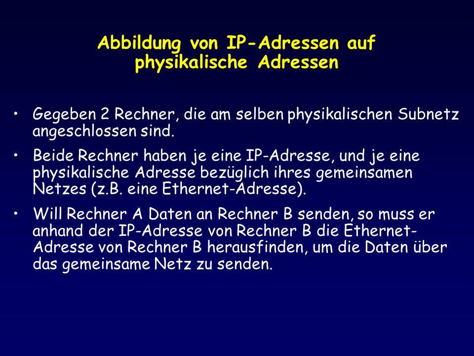 Abbildung von IP-Adressen auf physikalische Adressen