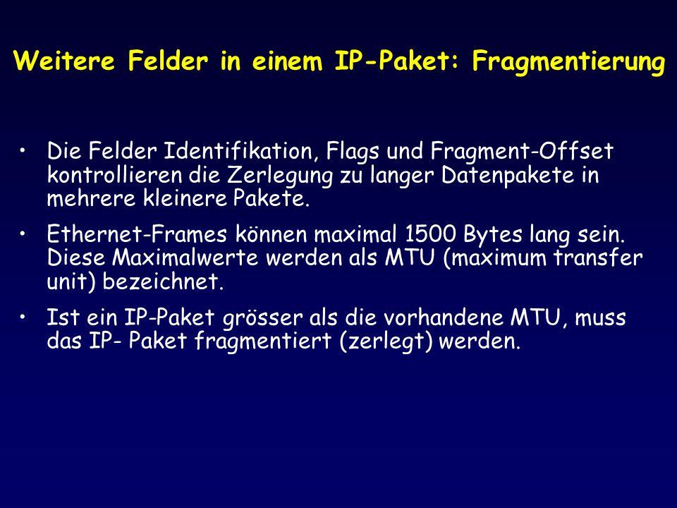 Weitere Felder in einem IP-Paket: Fragmentierung