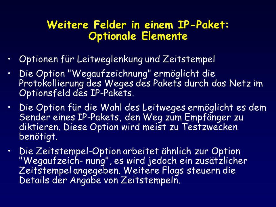 Weitere Felder in einem IP-Paket: Optionale Elemente