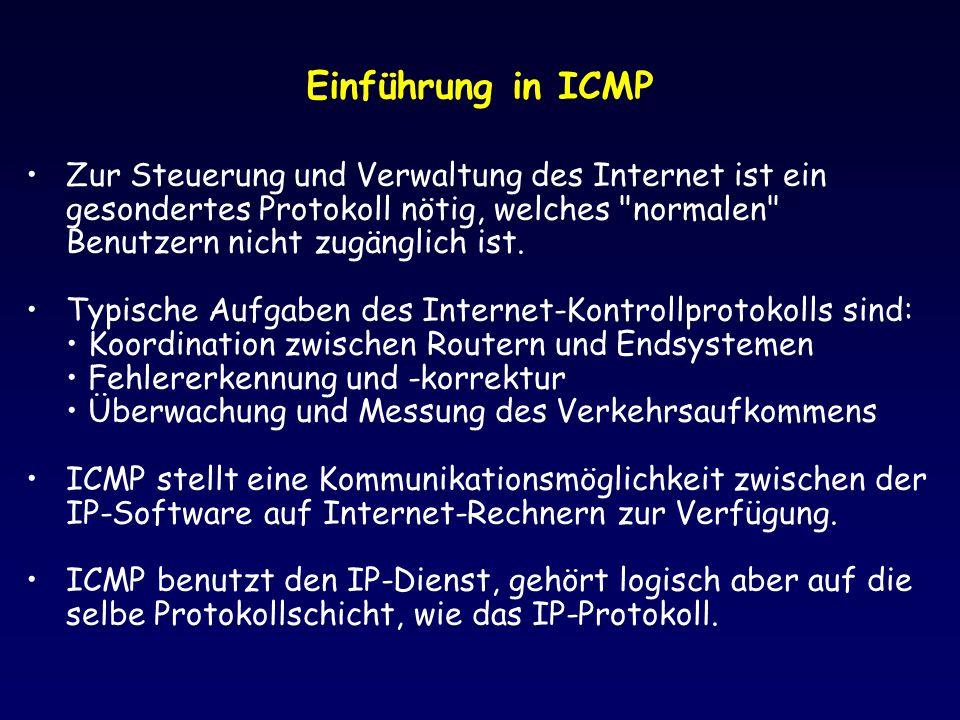 Einführung in ICMP Zur Steuerung und Verwaltung des Internet ist ein gesondertes Protokoll nötig, welches normalen Benutzern nicht zugänglich ist.