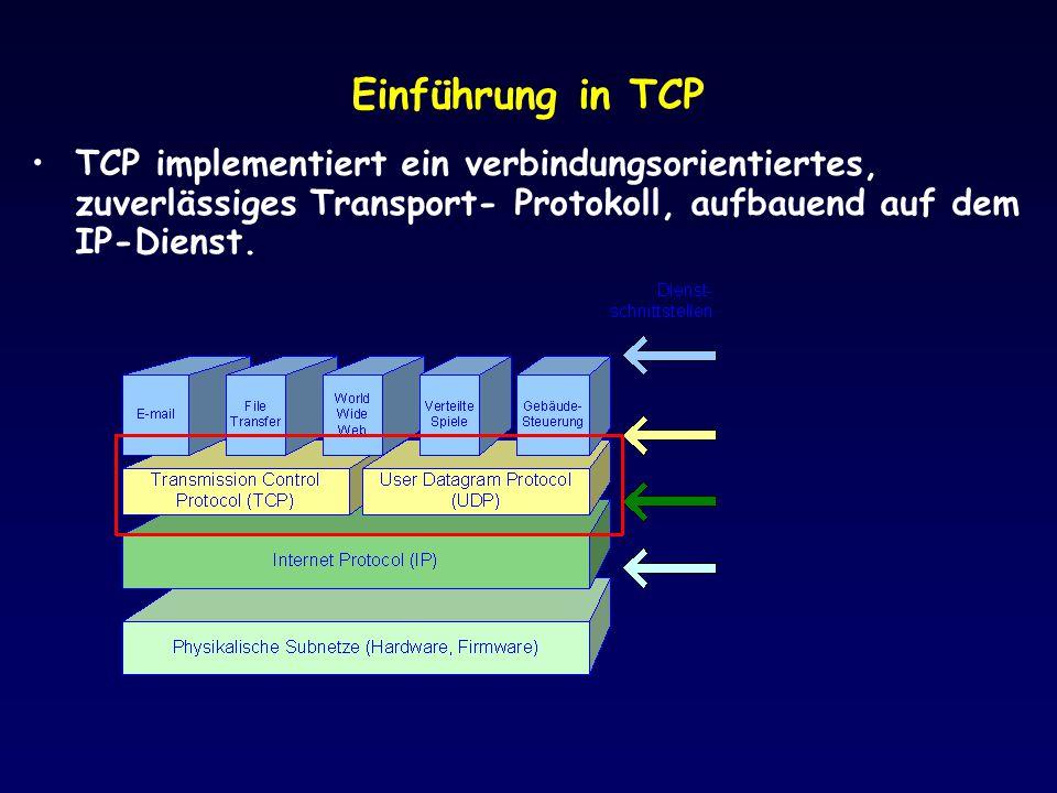 Einführung in TCP TCP implementiert ein verbindungsorientiertes, zuverlässiges Transport- Protokoll, aufbauend auf dem IP-Dienst.