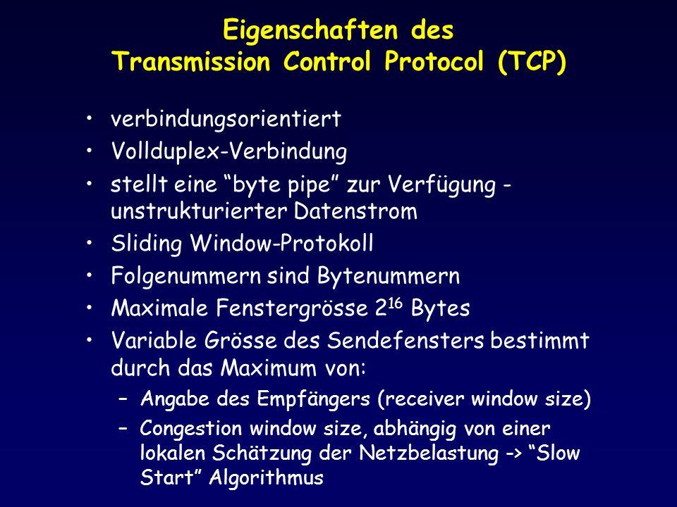 Eigenschaften des Transmission Control Protocol (TCP)