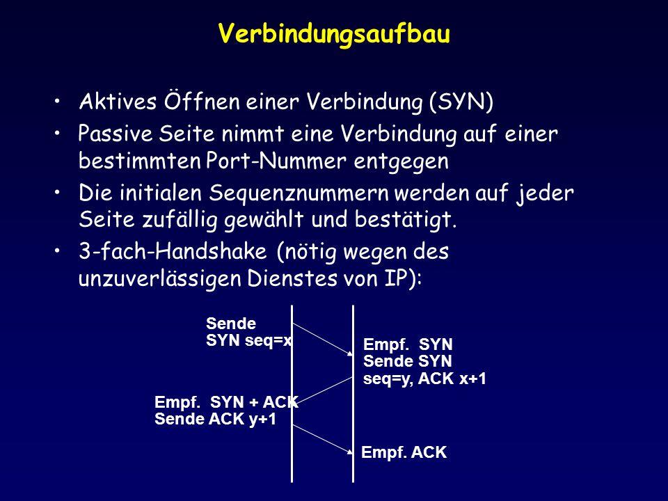 Verbindungsaufbau Aktives Öffnen einer Verbindung (SYN)