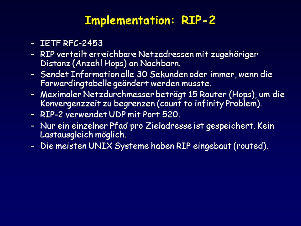 Implementation: RIP-2 IETF RFC-2453