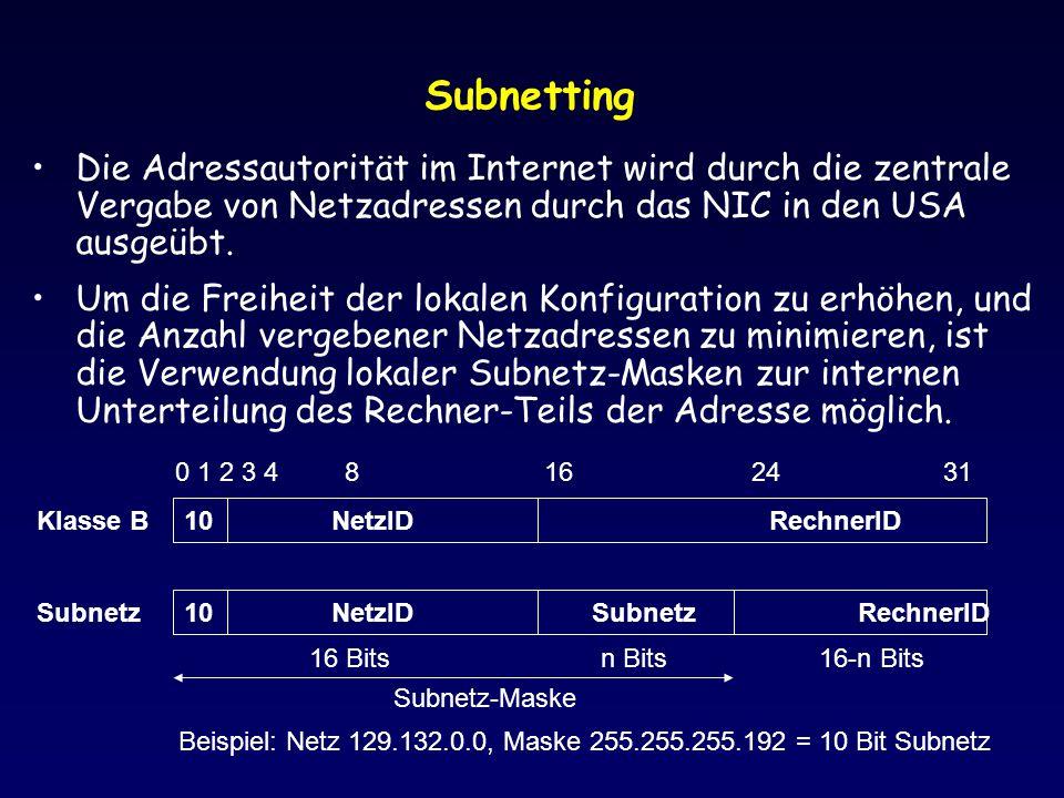Subnetting Die Adressautorität im Internet wird durch die zentrale Vergabe von Netzadressen durch das NIC in den USA ausgeübt.