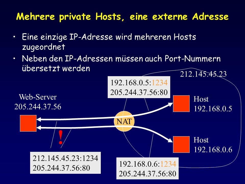 Mehrere private Hosts, eine externe Adresse