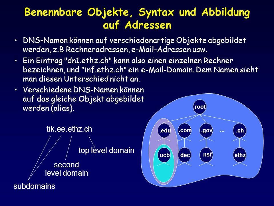 Benennbare Objekte, Syntax und Abbildung auf Adressen
