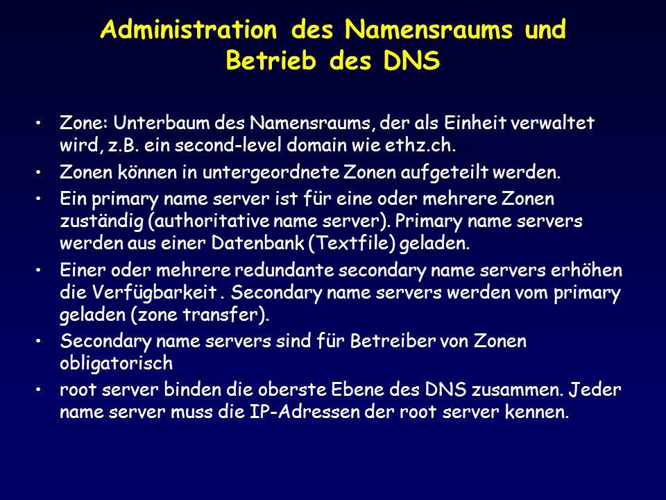 Administration des Namensraums und Betrieb des DNS