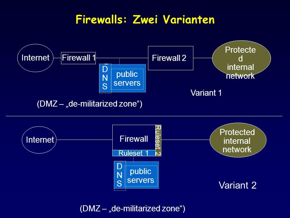 Firewalls: Zwei Varianten