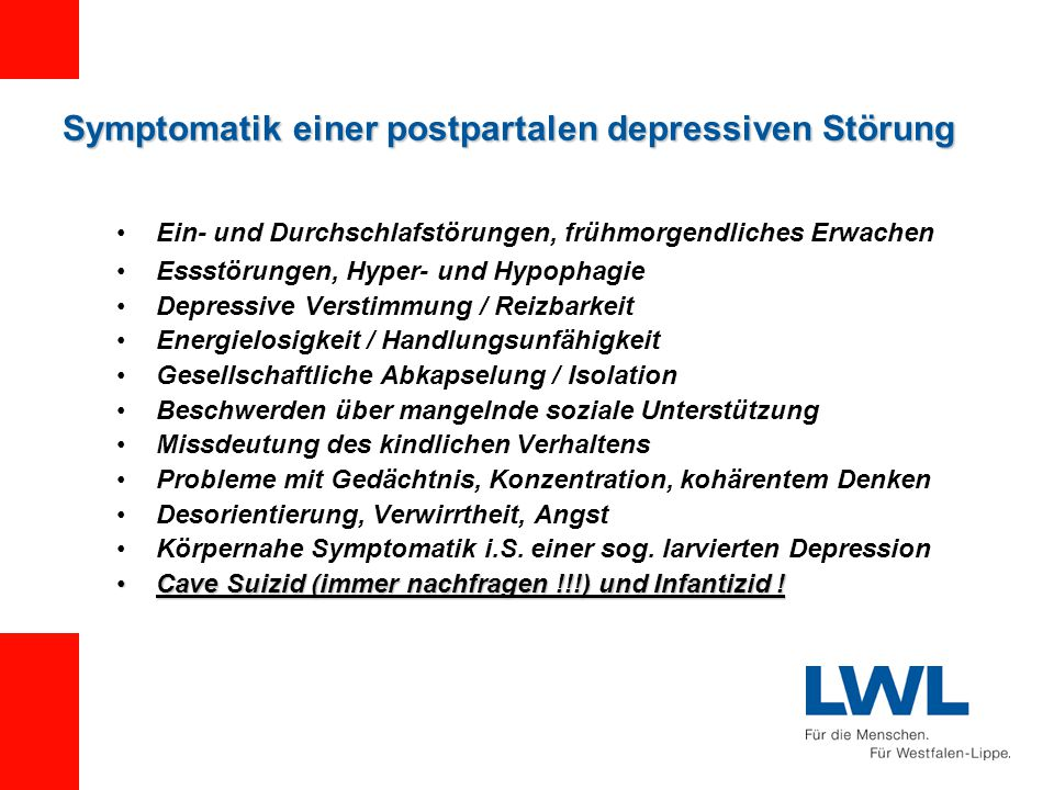 Symptomatik einer postpartalen depressiven Störung