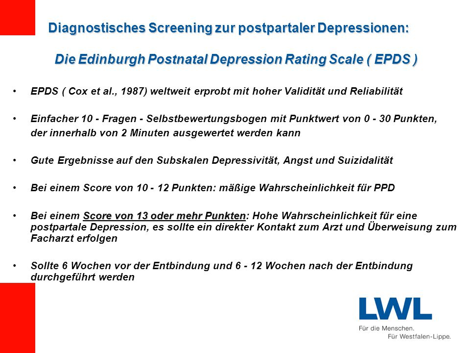 Diagnostisches Screening zur postpartaler Depressionen: Die Edinburgh Postnatal Depression Rating Scale ( EPDS )