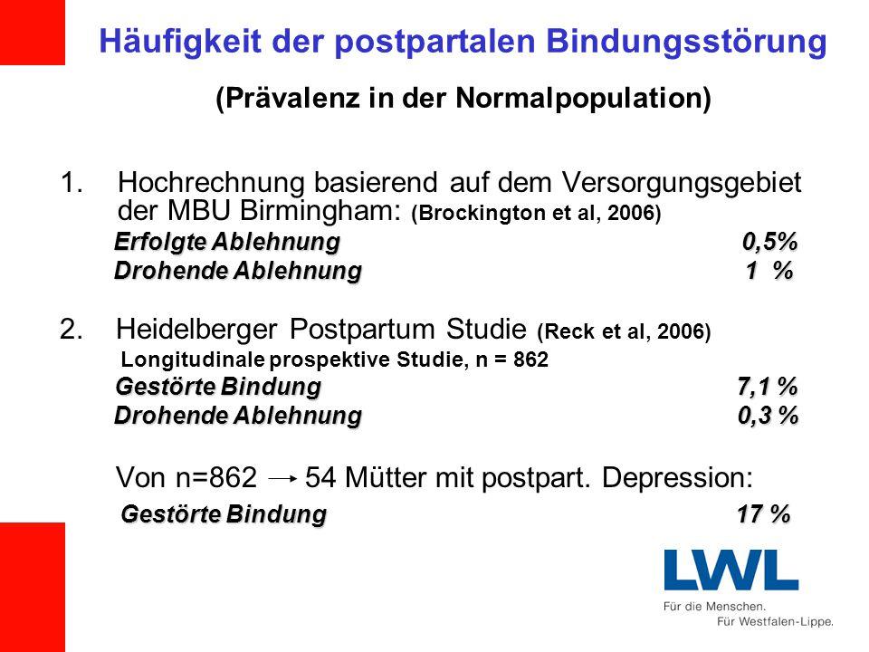 Häufigkeit der postpartalen Bindungsstörung (Prävalenz in der Normalpopulation)
